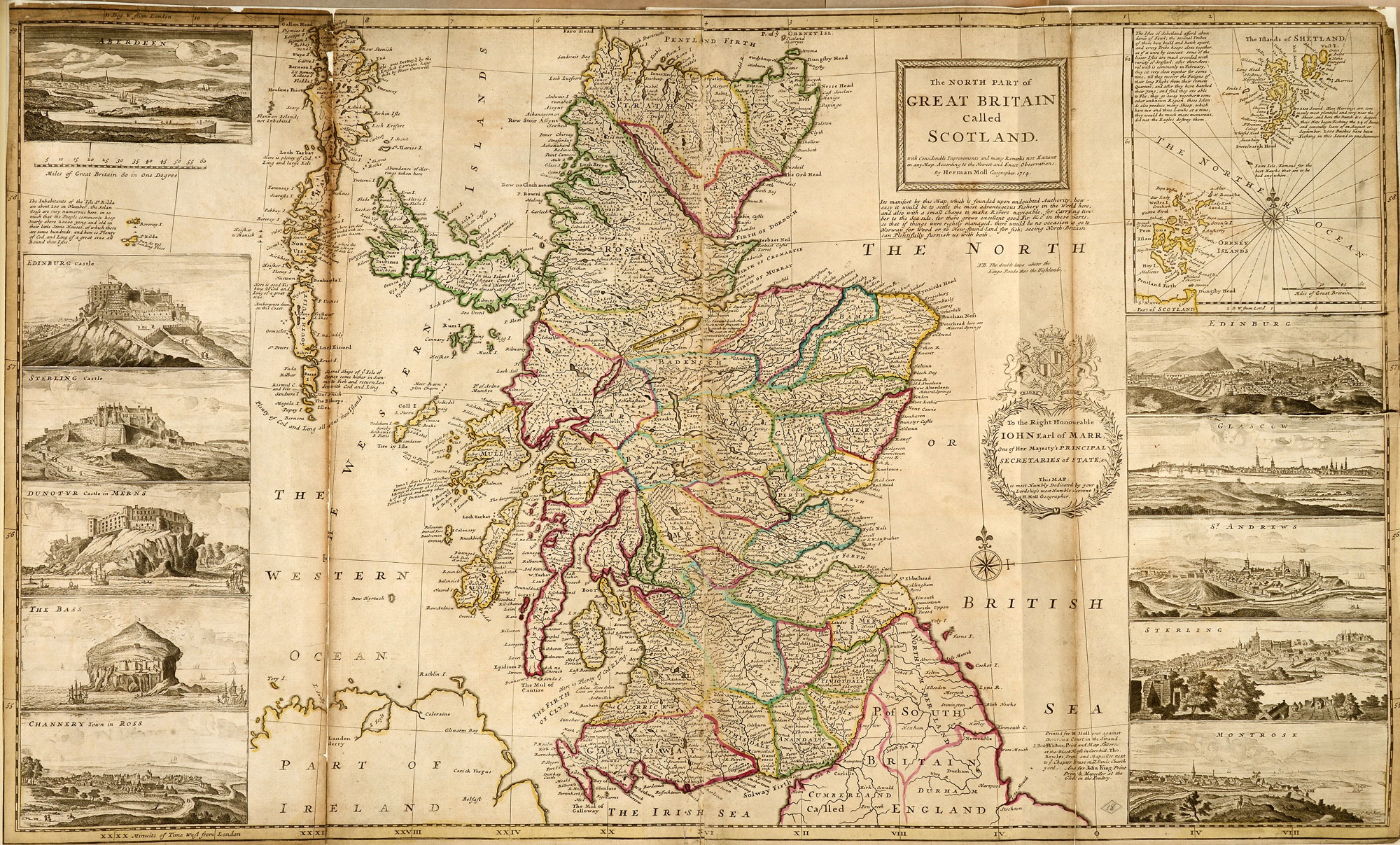 Map of Scotland by Herman Moll, geographer, 1714 (WO 78/419/18)