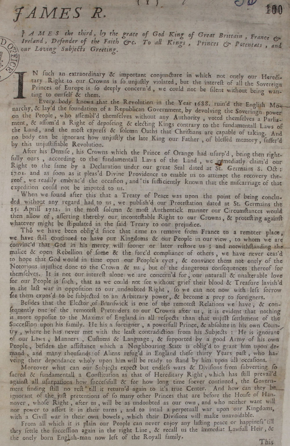 "A handbill from James III, James Francis Edward, ""The Old Pretender"" son of James II of England, August 1714, Catalogue ref: SP 35/1/30"