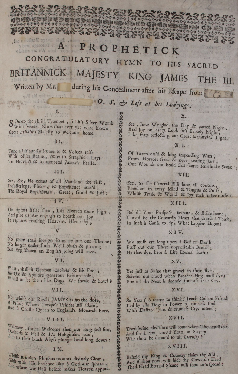 Extract from a Jacobite song consisting of forty-three verses, 1722, SP 35/40 f179