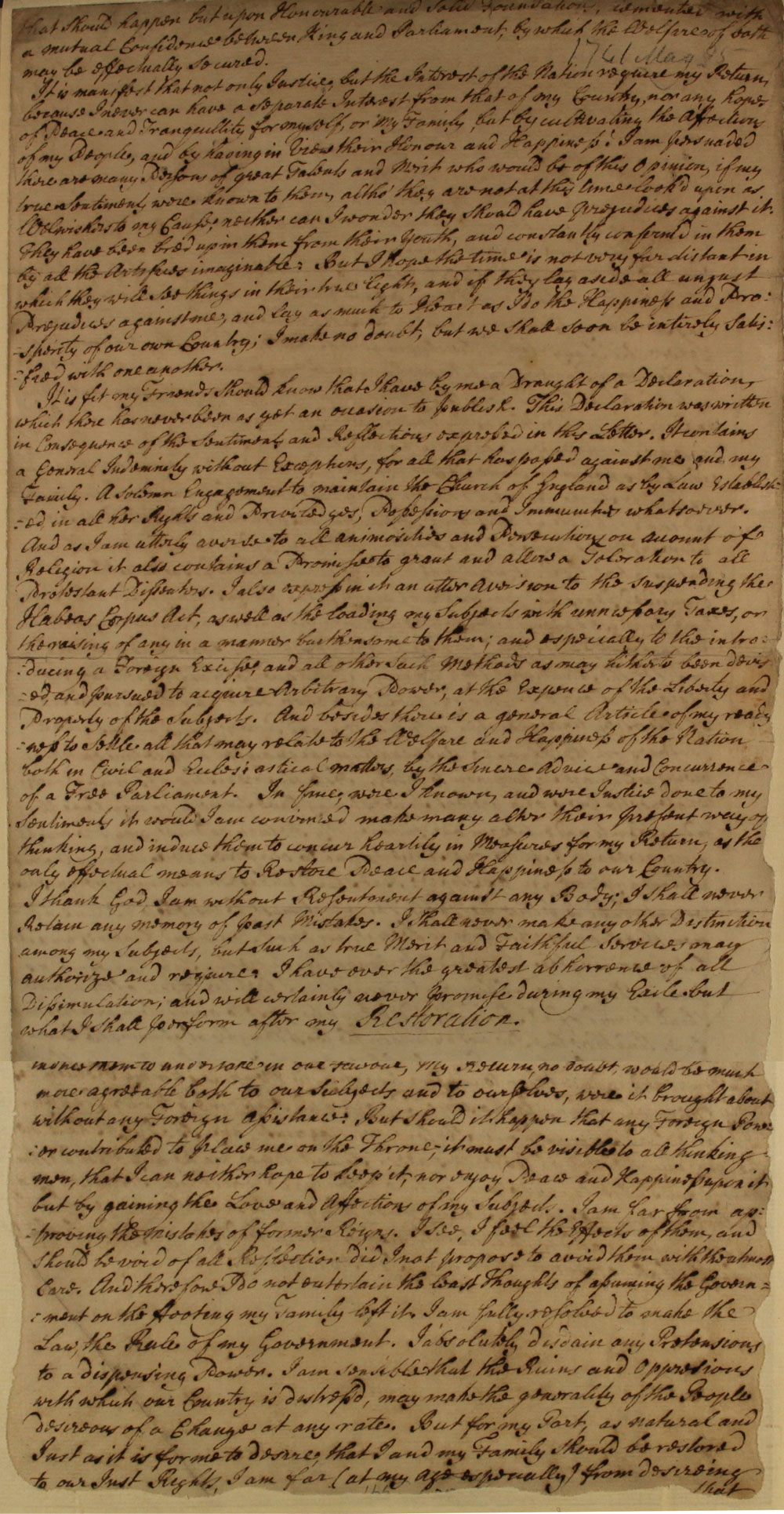Letter from the Young Pretender, Charles Edward Stuart, 1741 (SP 36/59/2/257D)