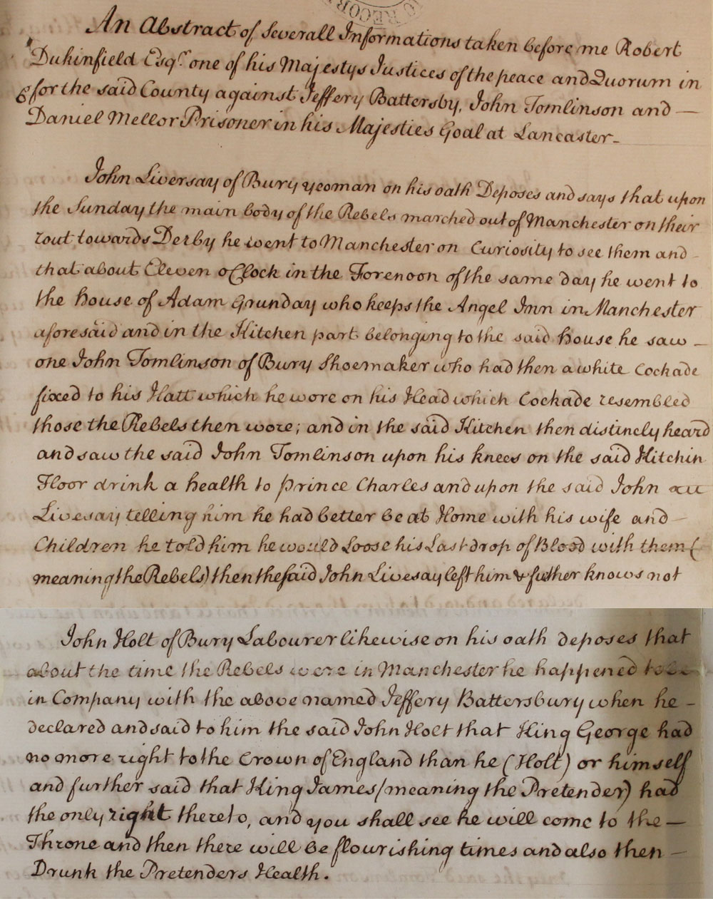 Information taken at Lancaster Gaol, 1747 (SP 36/93 f127)
