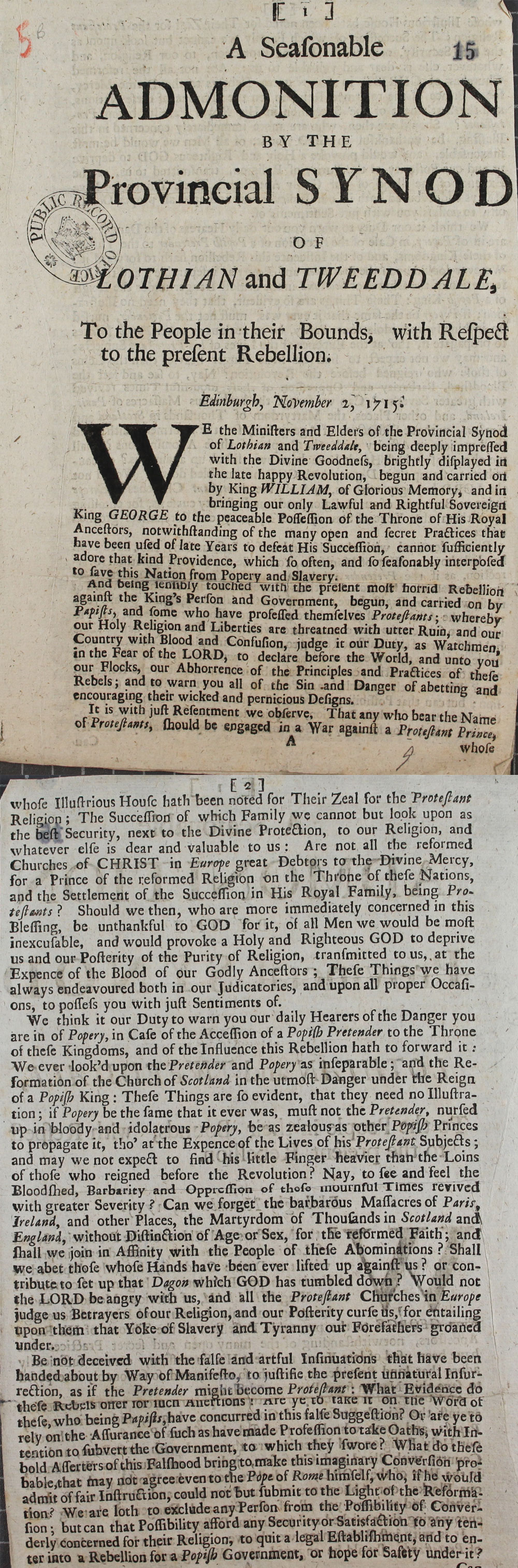 Extracts from a Scottish Church pamphlet addressed to the people of Lothian and Tweeddale, 2 November, 1715 (SP 54/10/5B)