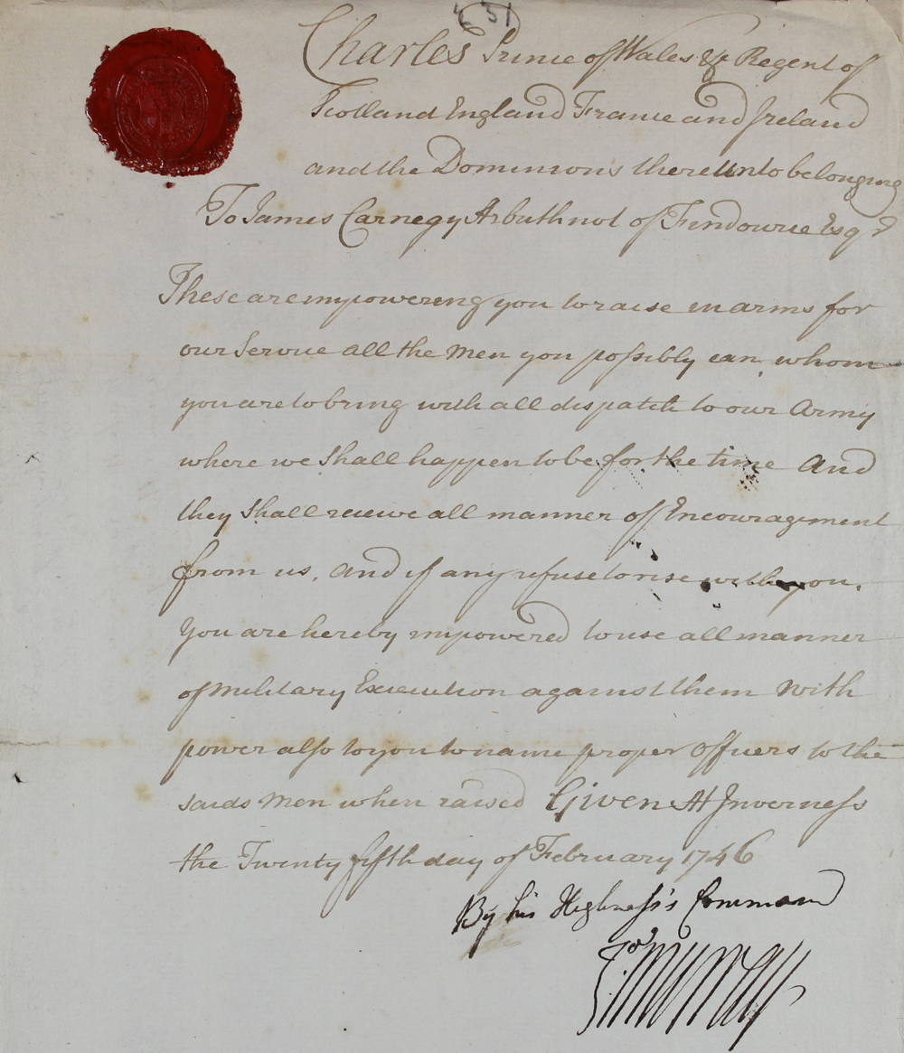 A warrant from the Young Pretender ,1746 (SP 54/26/123F)