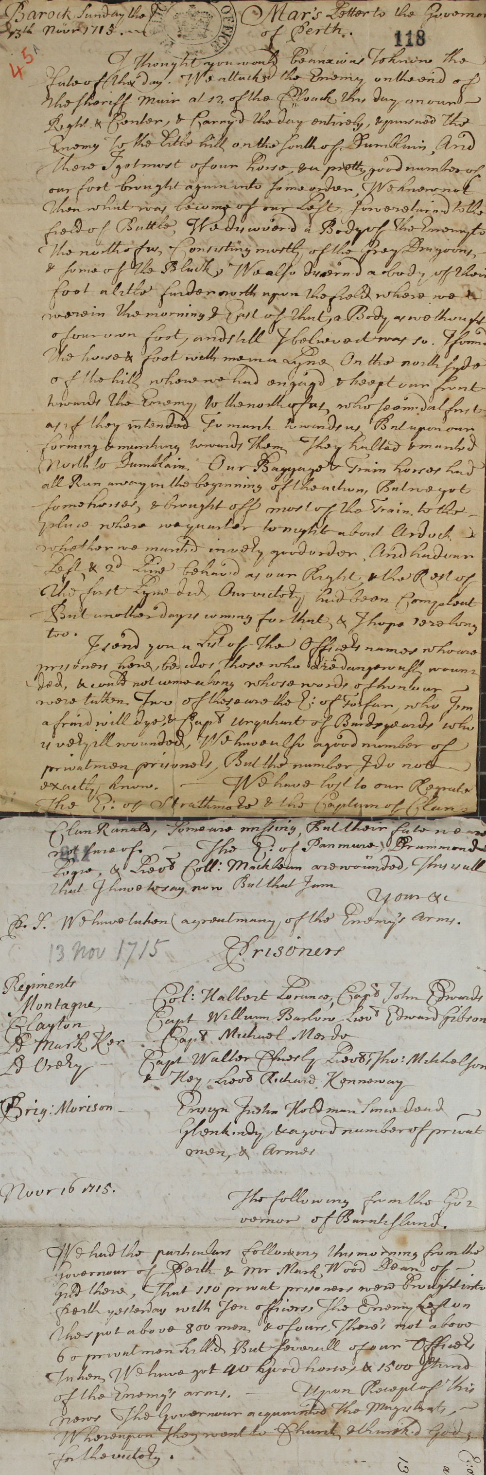 Letter from the Earl of Mar to the Governor of Perth on the battle of Sheriffmuir, 13 November, 1715 (SP 54/10/45A)