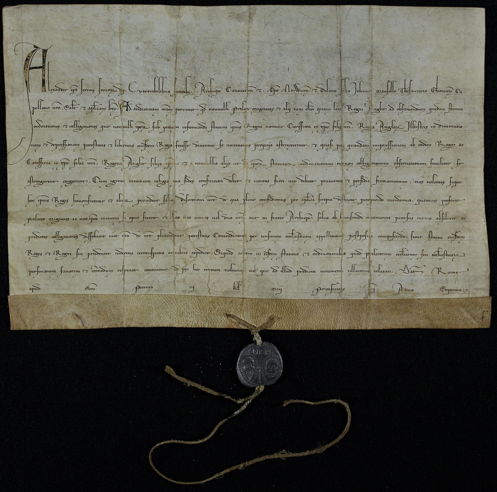 Papal Bull, 1261 (SC 7/3/29)