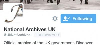 Screenshot of @UKNatArchives Twitter feed