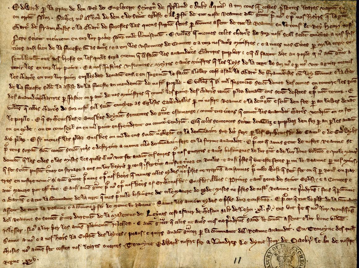 Edward I's Confirmation of Magna Carta, October 1297 (E 175/1/11)