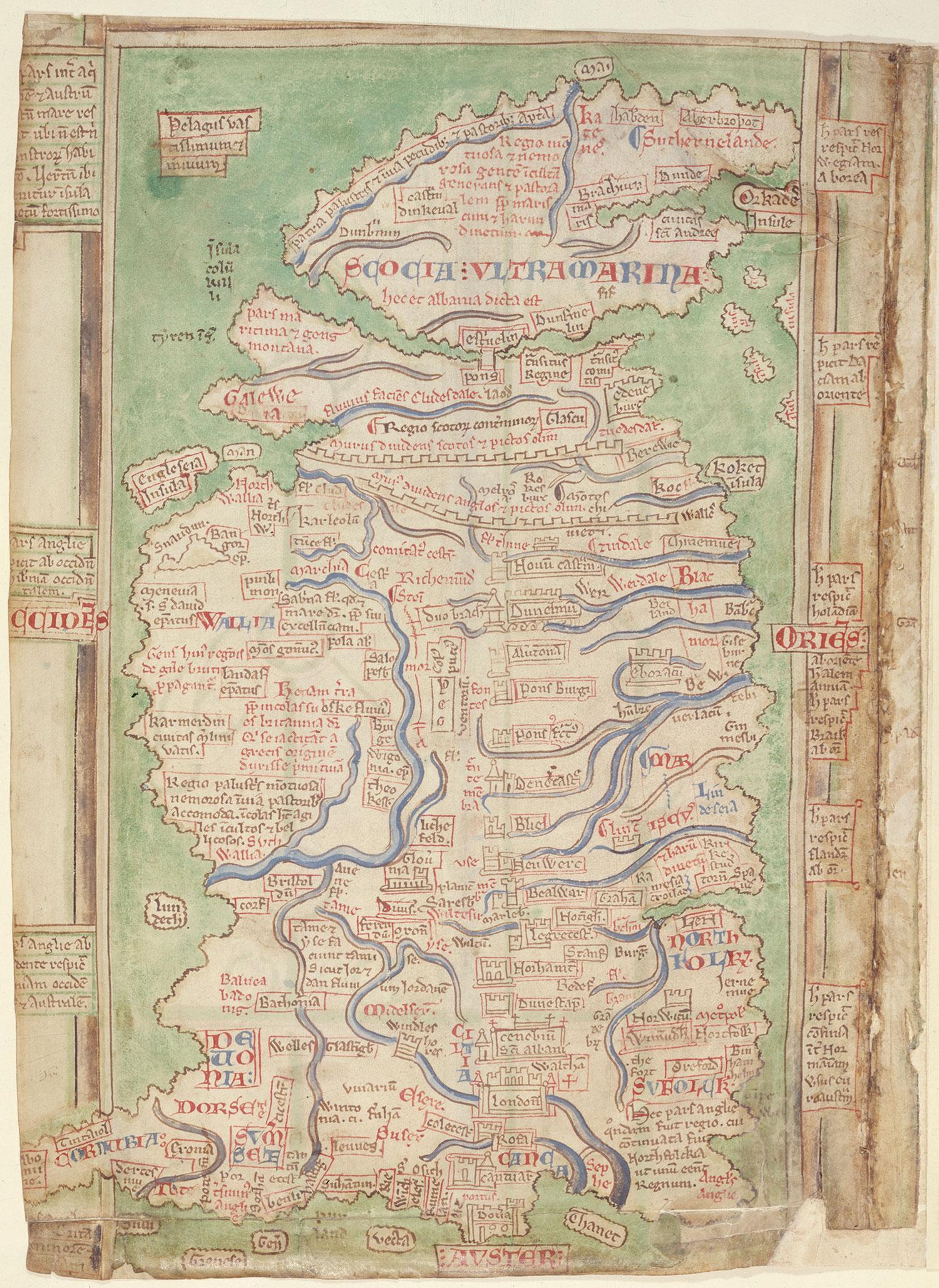 Matthew Paris map of Britain c.1250