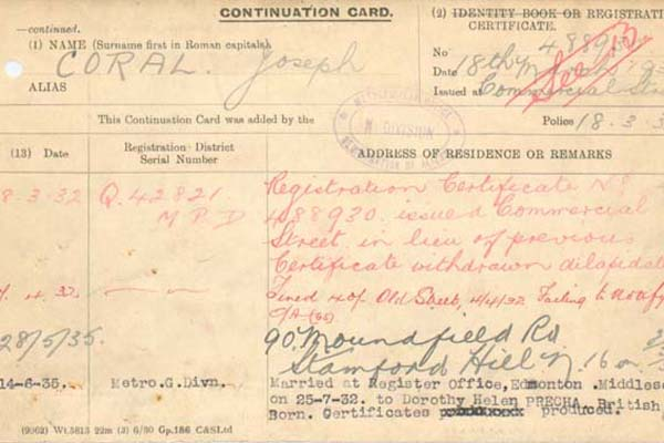 Continuation card of Joe Coral (MEPO 35/16/2)