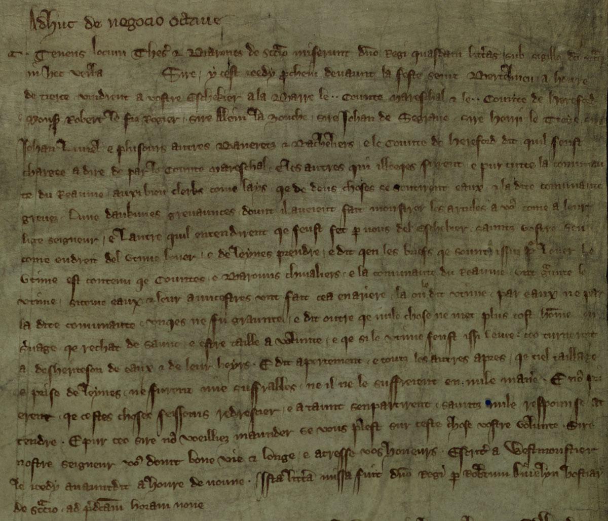 Statement by Roger Bigod and Henry de Bohun, E159-70)