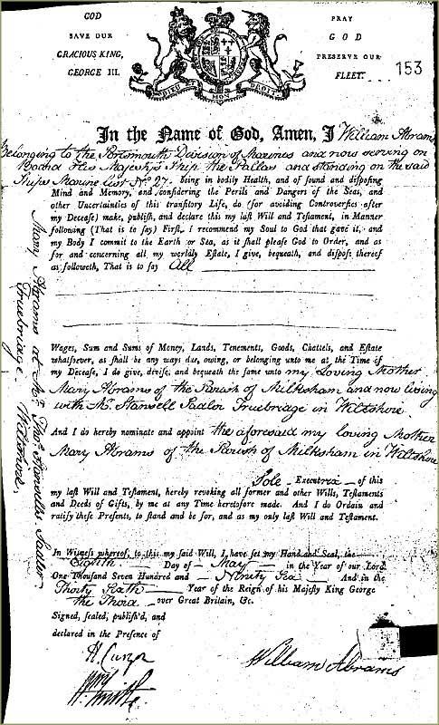 Will of William Abrams, 1796 (ADM 48/1)