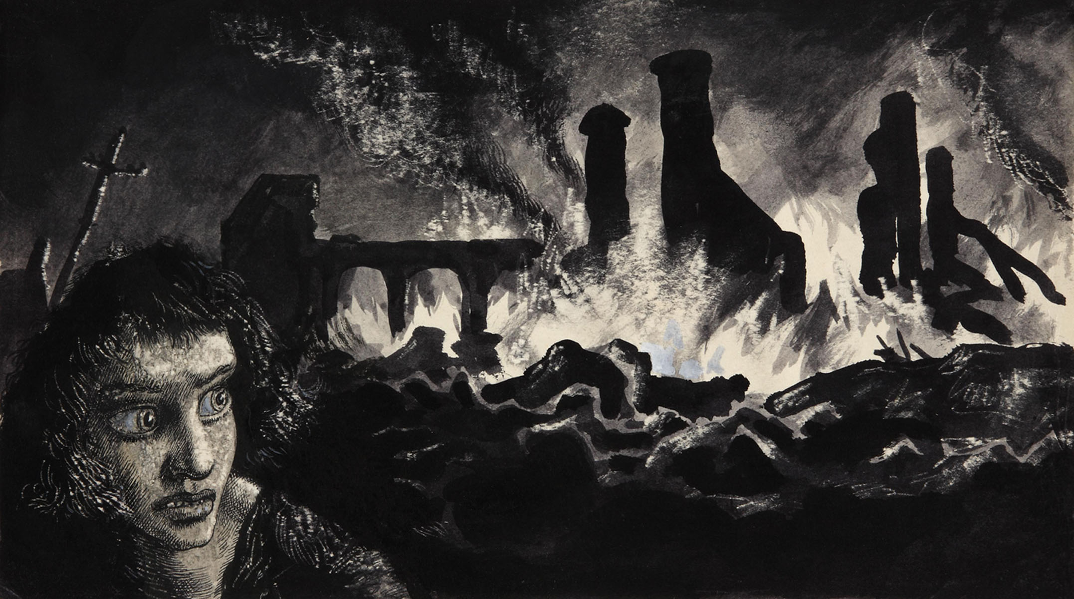 Image of 'Head by Firelight', a drawing by artist Mervyn Peake for a 'Horrors of War' booklet (catalogue reference: INF 3/658)
