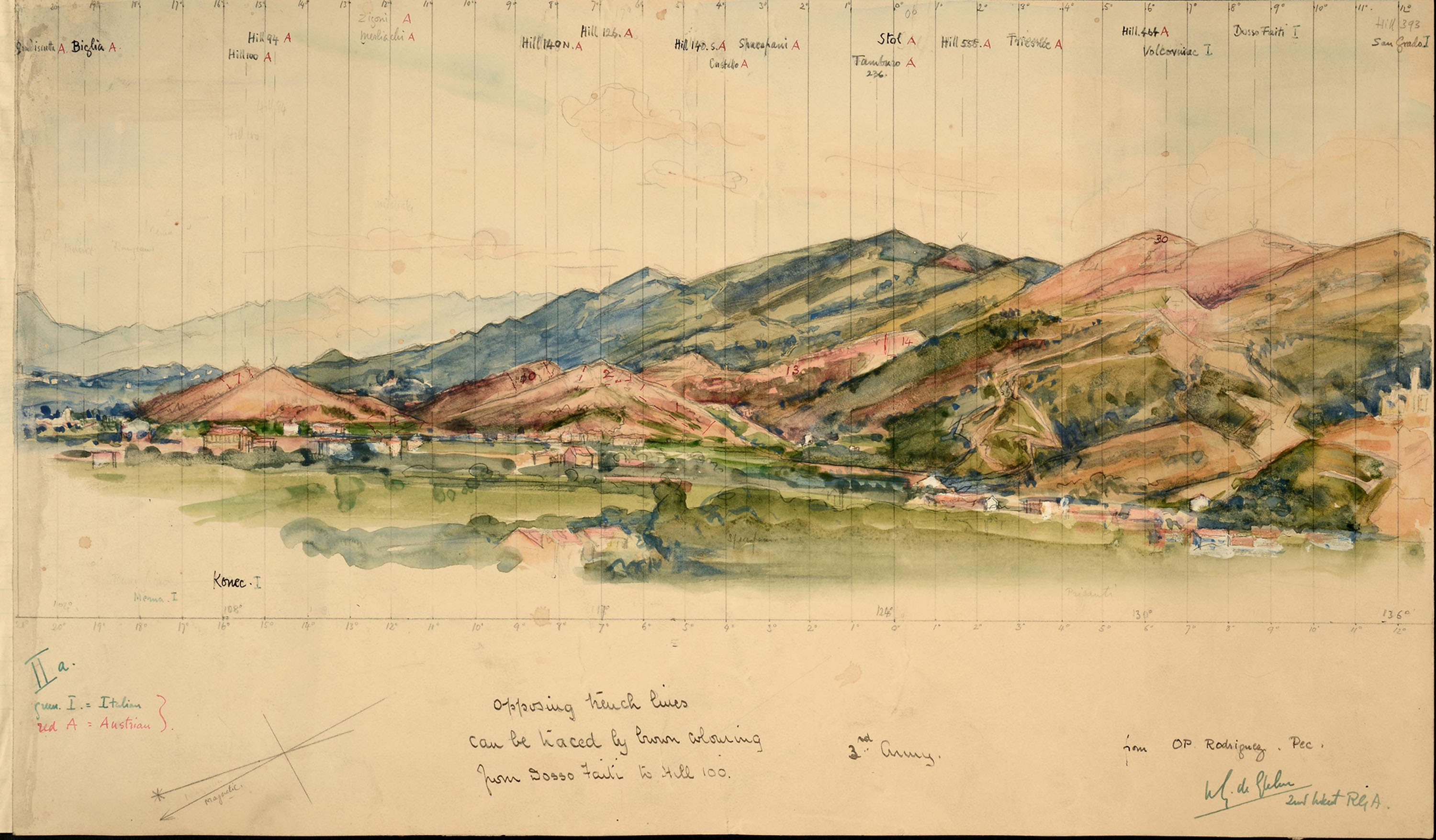 A watercolour sketch depicting view of opposing trench lines from 'Sosso Trail' to 'Hill 100' (catalogue reference: WO323/2/6B)