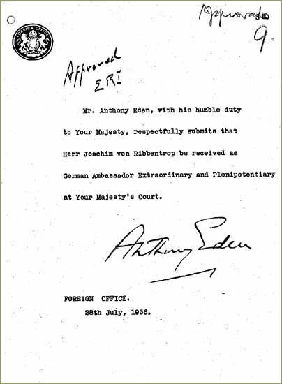 Submission for the appointment of Ribbentrop as German Ambassador FO 954/10a