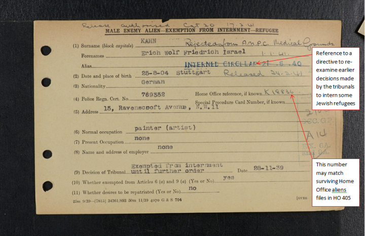 Image of an Exemption From Internment Card (catalogue reference HO 396/180/00136). The card shows that although the person in question was exempted from internment in 1939, a decision was then made in 1940 to intern the individual, whose release was then authorised in 1941.