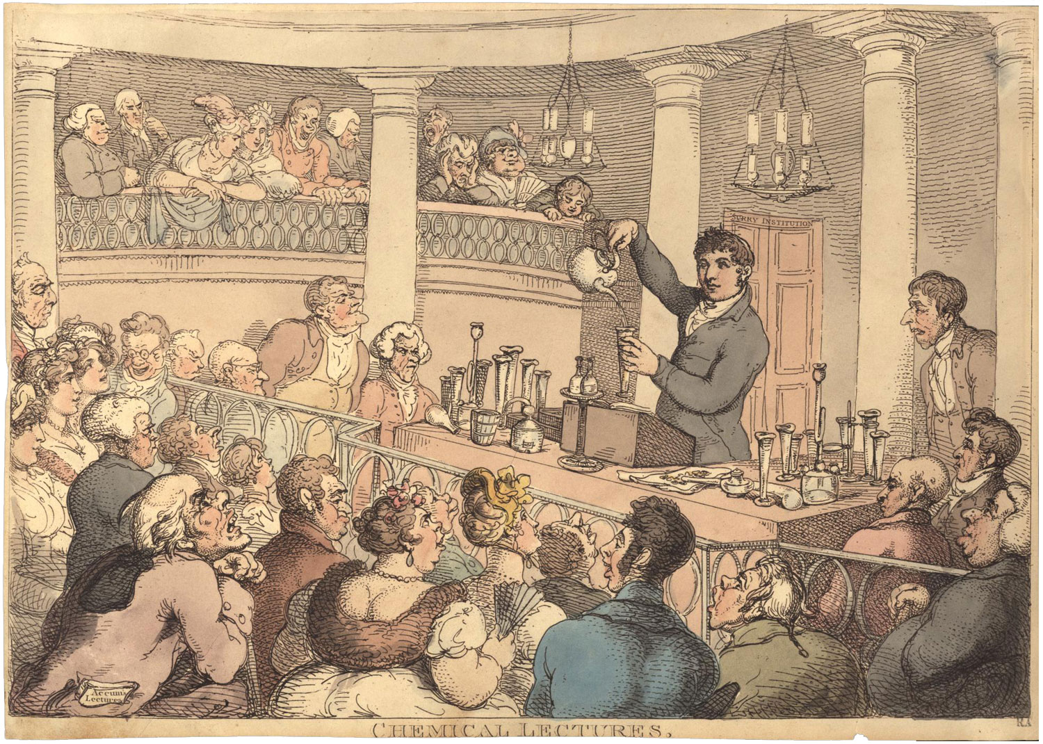 Engraving by Thomas Rowlandsonshowing a chemical lecture [after 1809] © Wikimedia Commons