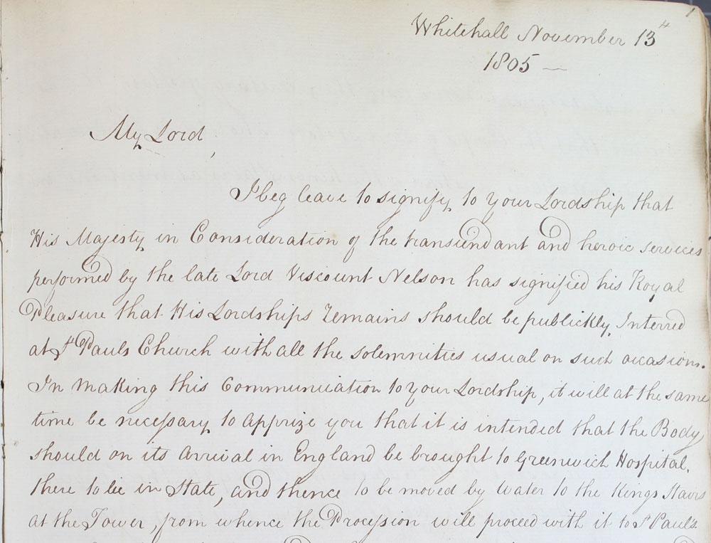 Letter regarding funeral plans for Nelson (LC 2/40)