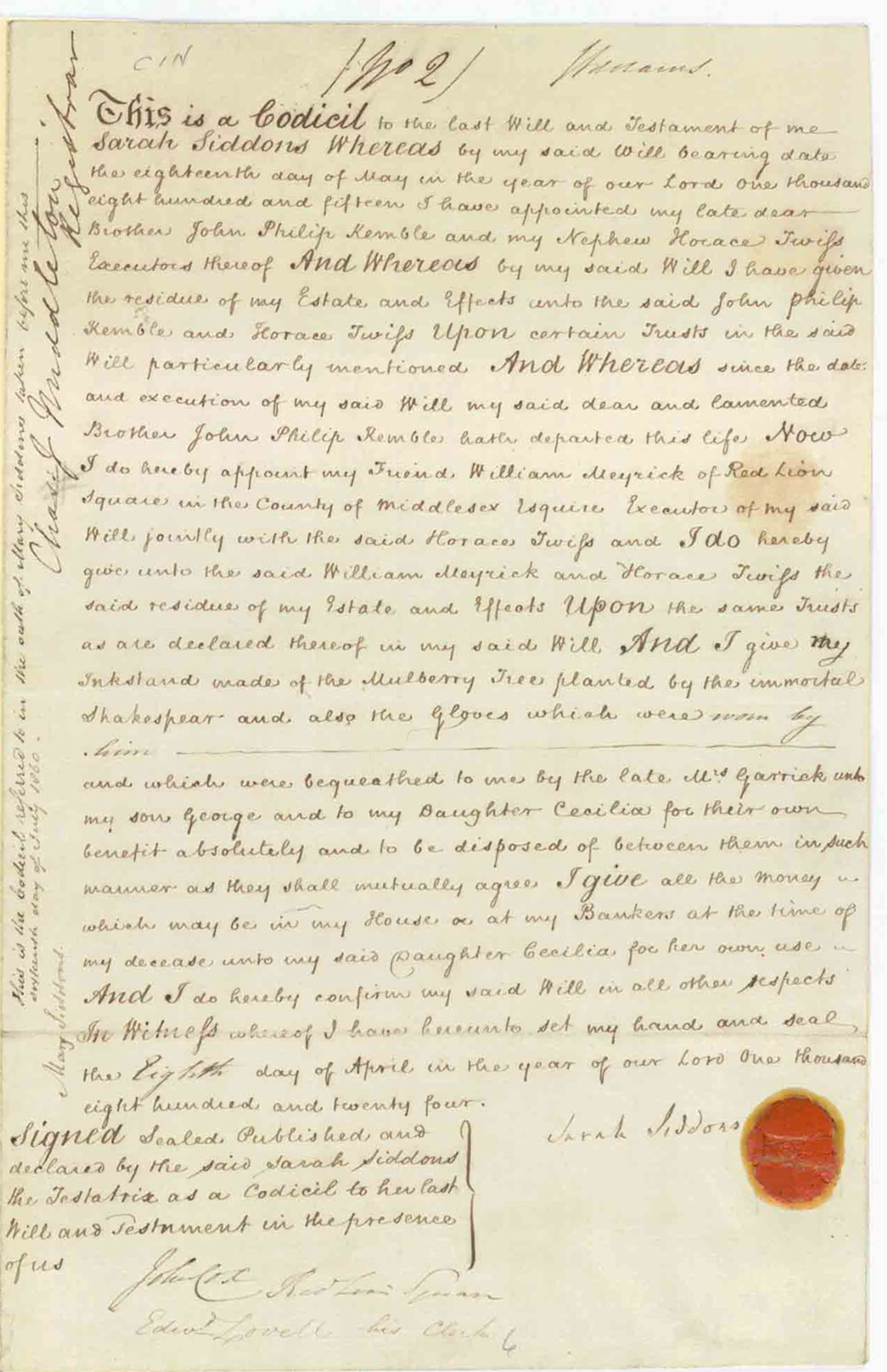 Codicil to the will of Sarah Siddons, 1831 (PROB 1/83)