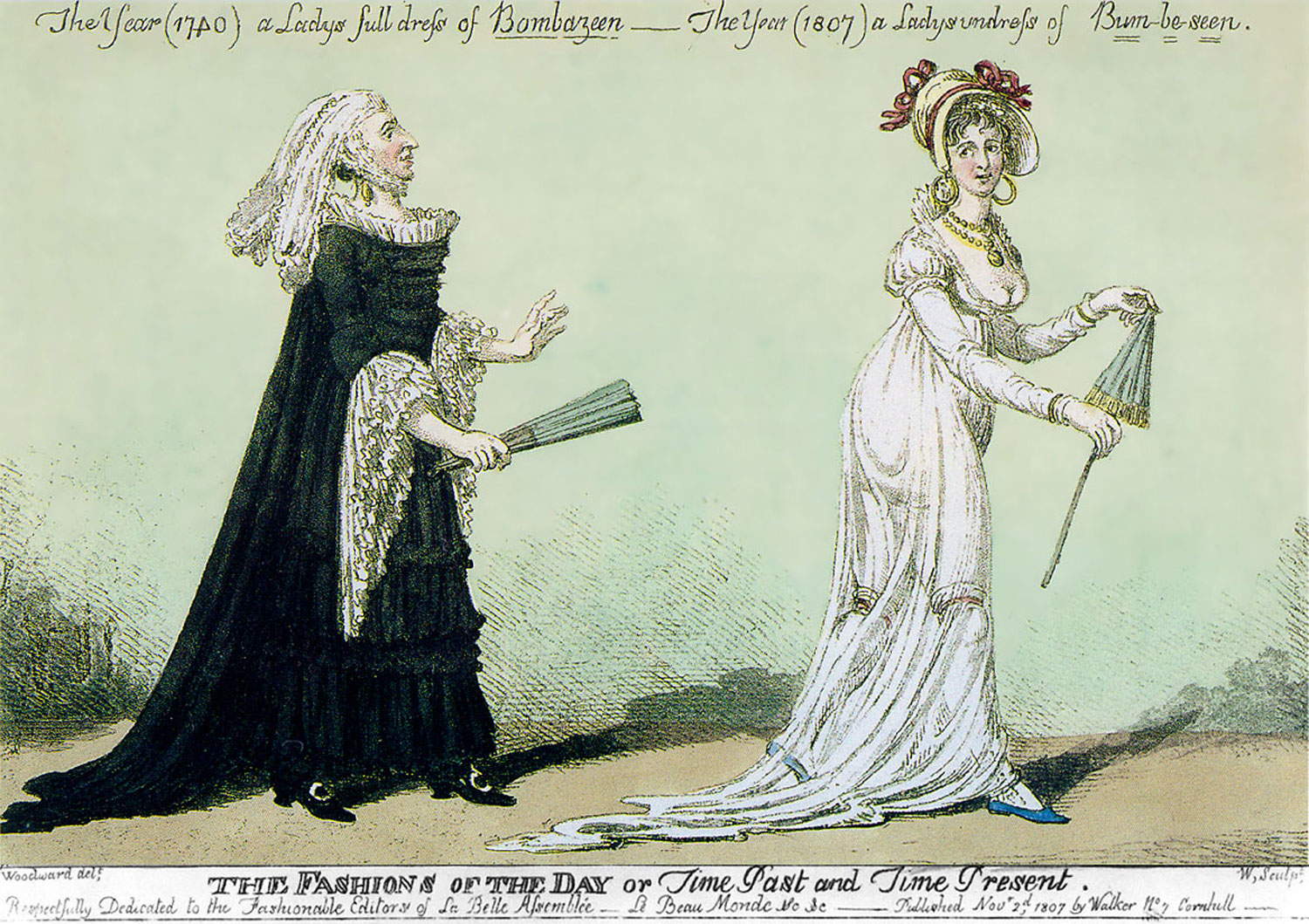 Engraving by Charles Williams, a satire on fashion, Wikimedia Commons