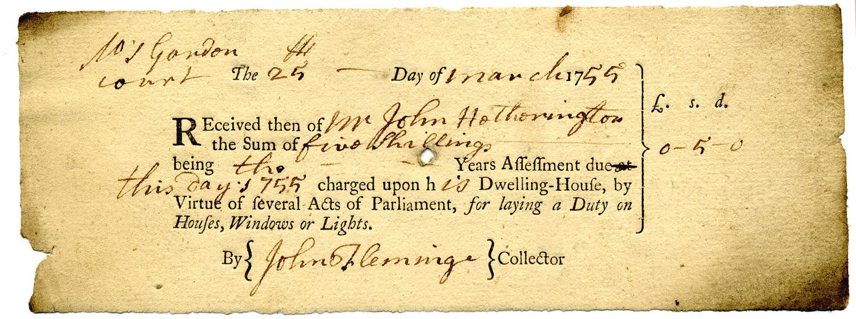 WIndow tax receipt, 1755 (QAB 1/13/27)