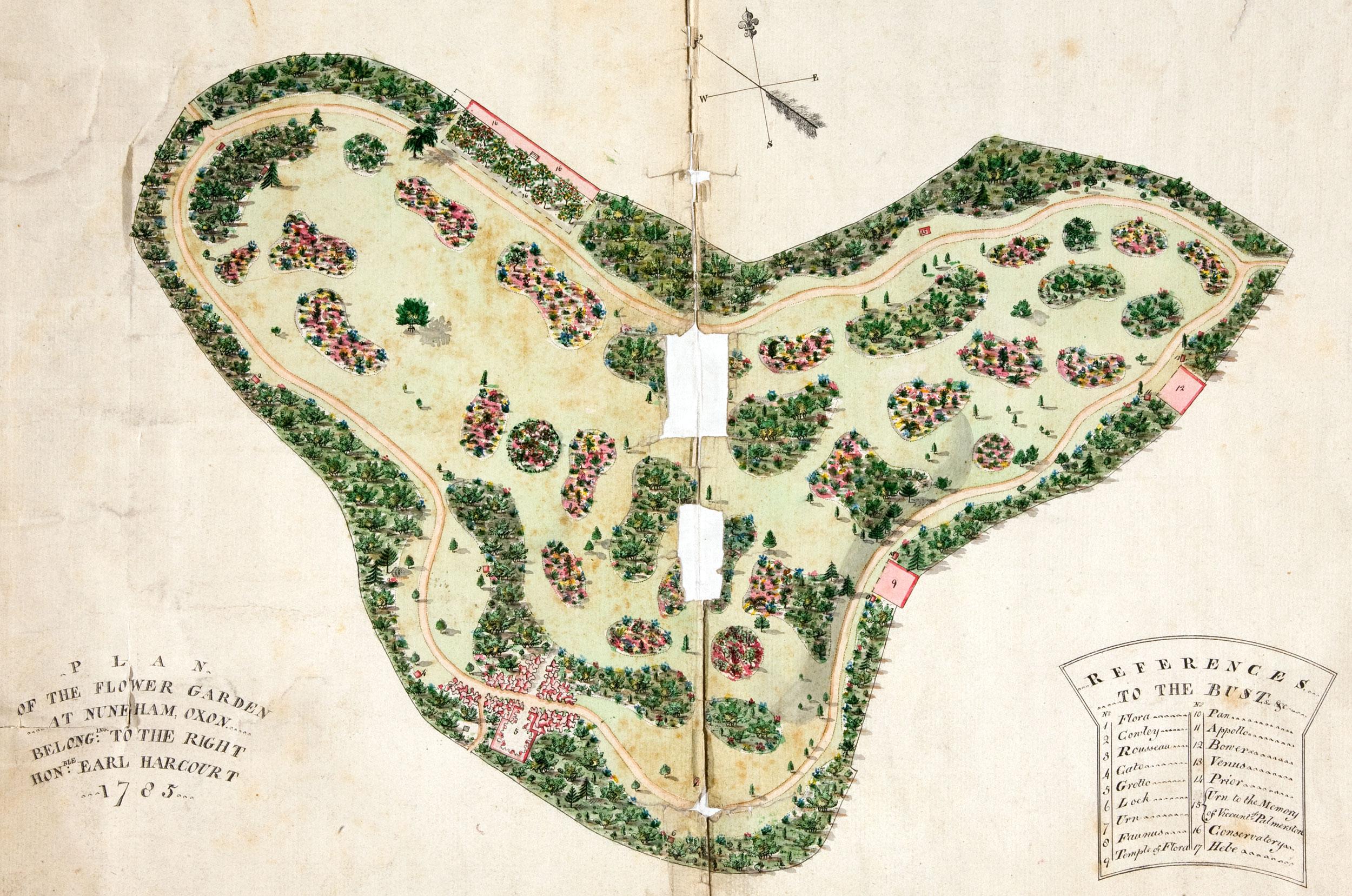 Flower garden at Nuneham Courtney, Oxon, 1785 (WORK 38/349)