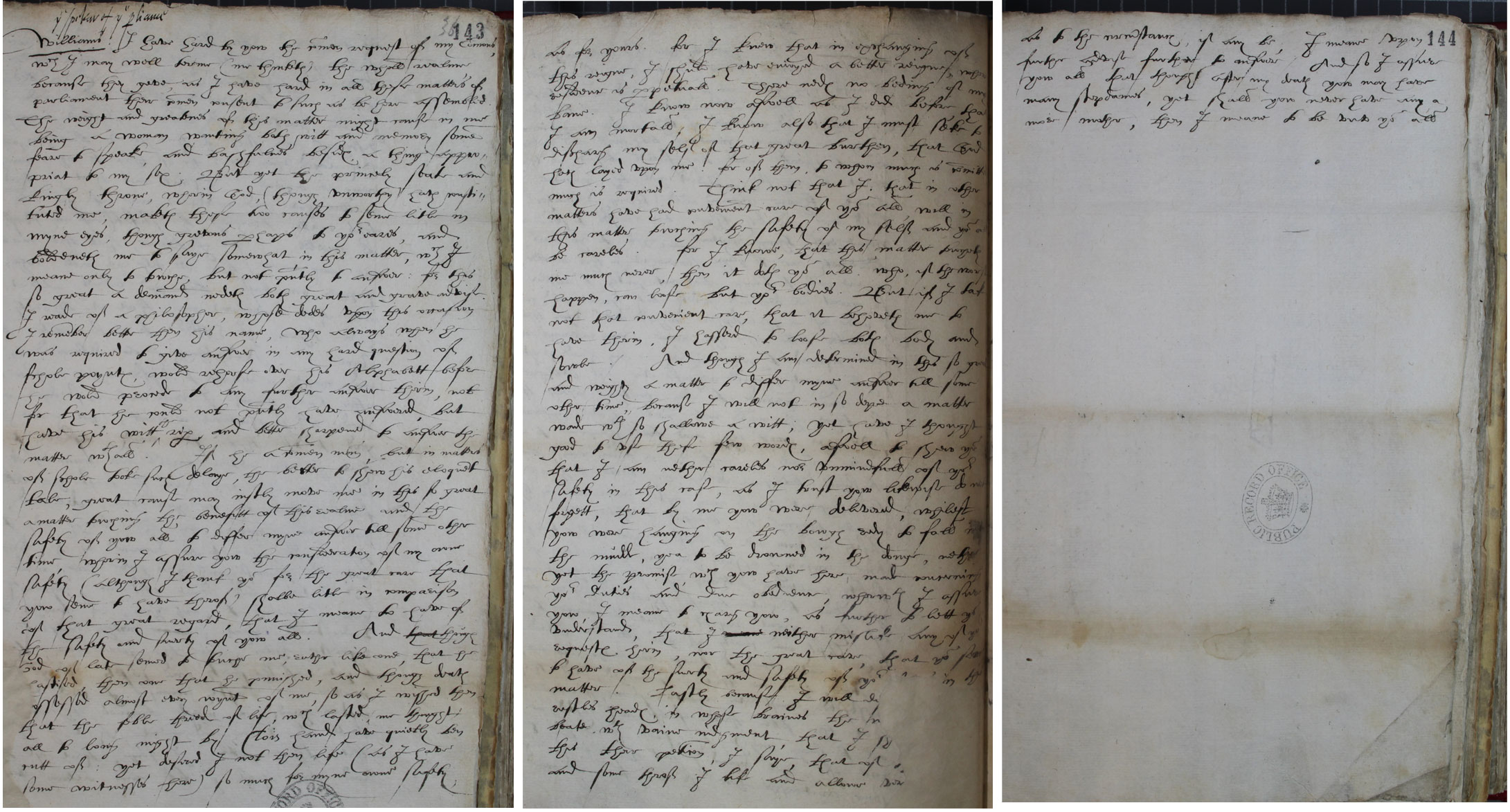 Answer of the Queen to the addresses of both Houses of Parliament delivered to Mr Speaker Thomas Williams, 28 January 1563 (SP 12/27 f.143r-144v)