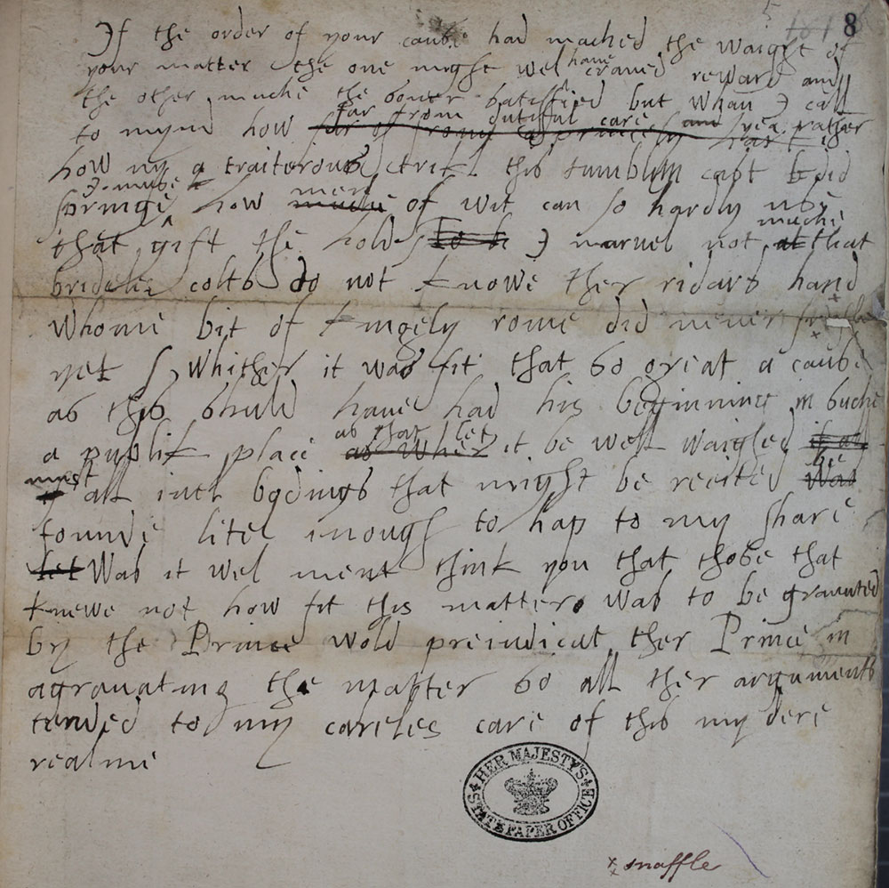 Elizabeth I's speech to a joint delegation of Lords and Commons, 5 November 1566 (SP 12/41/5 f.8)