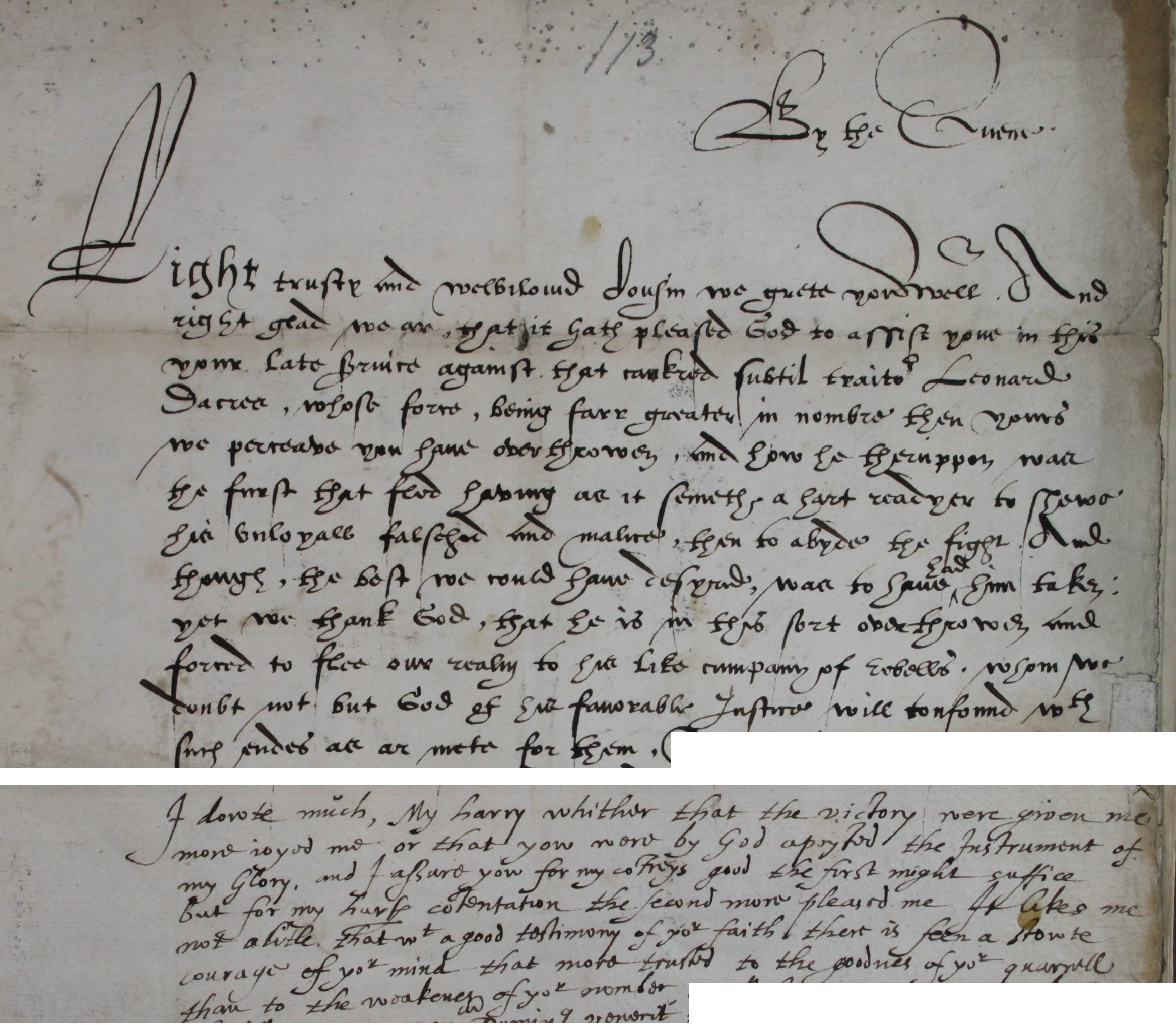 Elizabeth I to Henry Carey, Lord Hunsdon, 26 February 1570 (SP 15/17 f.263)