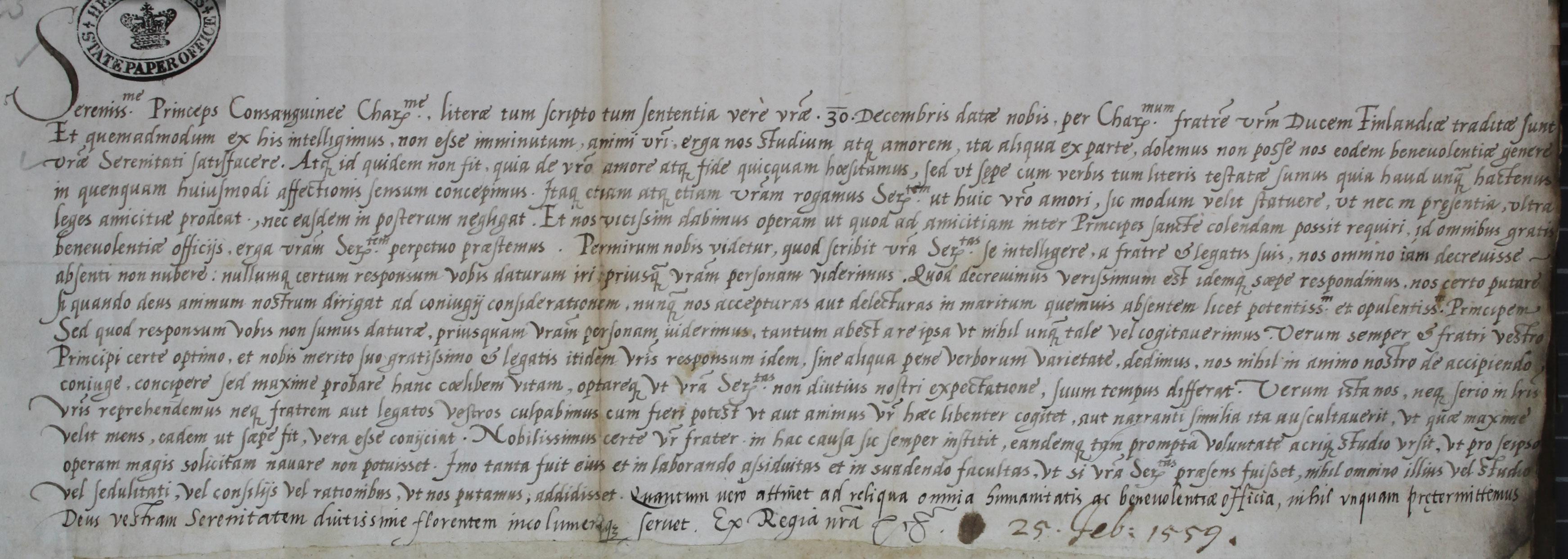Elizabeth I to King Eric XIV of Sweden, 25 February 1560 (SP 70/11 f.74)