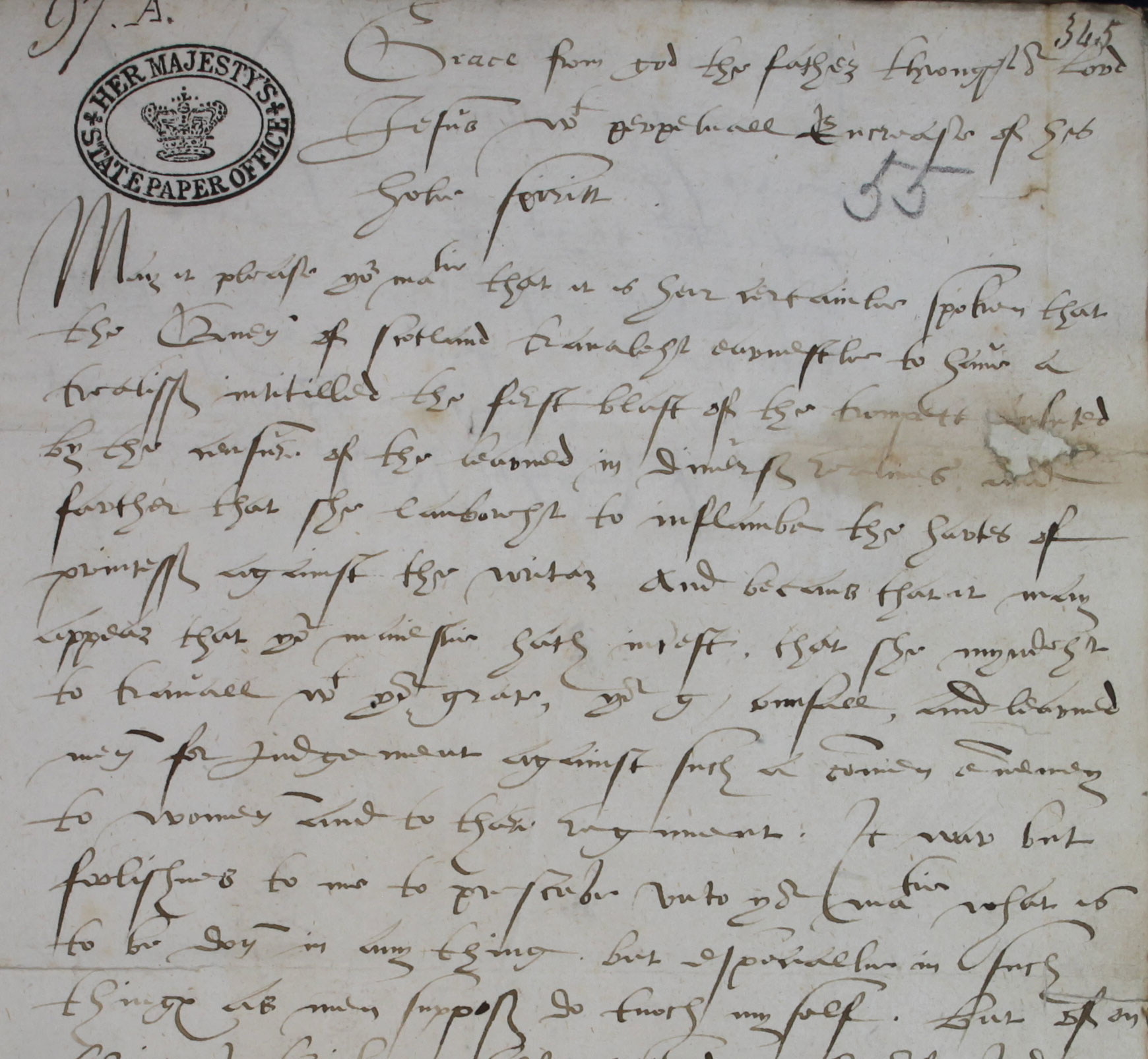John Knox to Elizabeth, 6 August 1561 (SP 52/6 f.119)