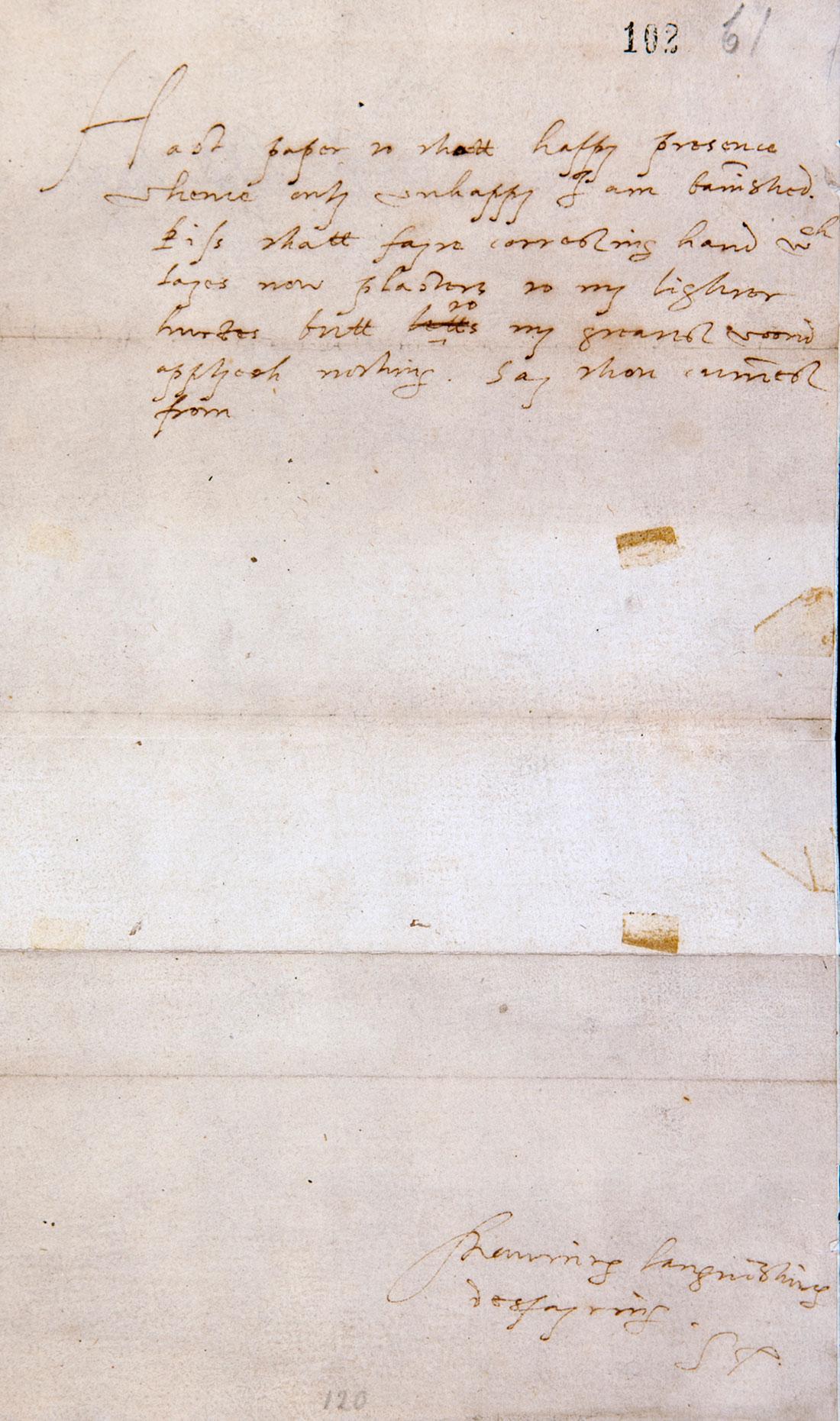 Robert Devereux, Earl of Essex to Elizabeth I, 6 September 1600 (SP12/275 f.102)