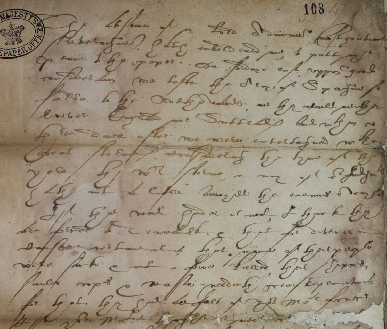 Sir Francis Drake to Elizabeth, 8 August 1588 (SP 12/214 f.108)