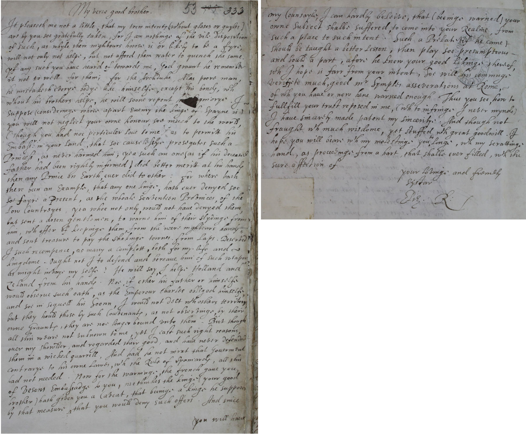 Elizabeth I to James VI, 5 January 1603 (SP 52/69 f.53)
