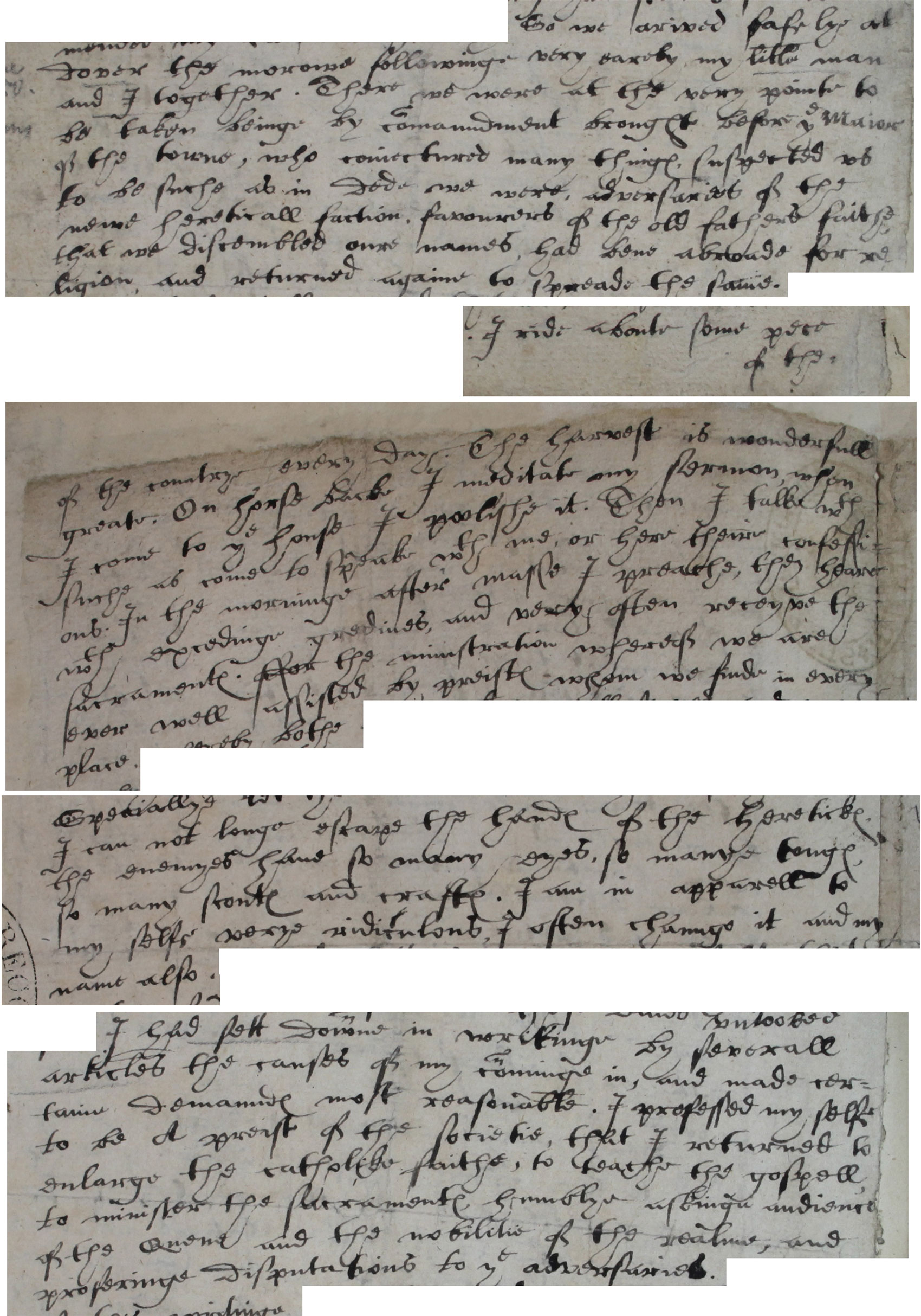 Letter from Edmund Campion to a friend (possibly Dr Allen), 1580 (SP 15/27B f117)