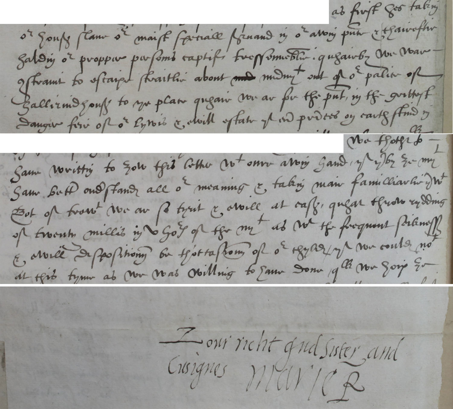 Letter dictated by Mary Queen of Scots to Elizabeth, 15 March 1566 (SP 52/12 f77v)