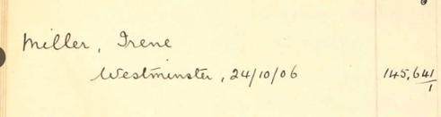 Entry for Irene Miller in the index to suffragettes arrested