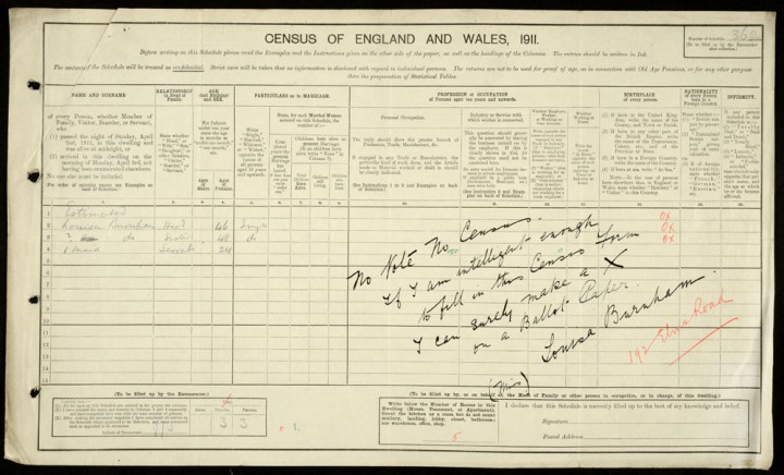 Census entry spoiled by Suffragette Louisa Burnham