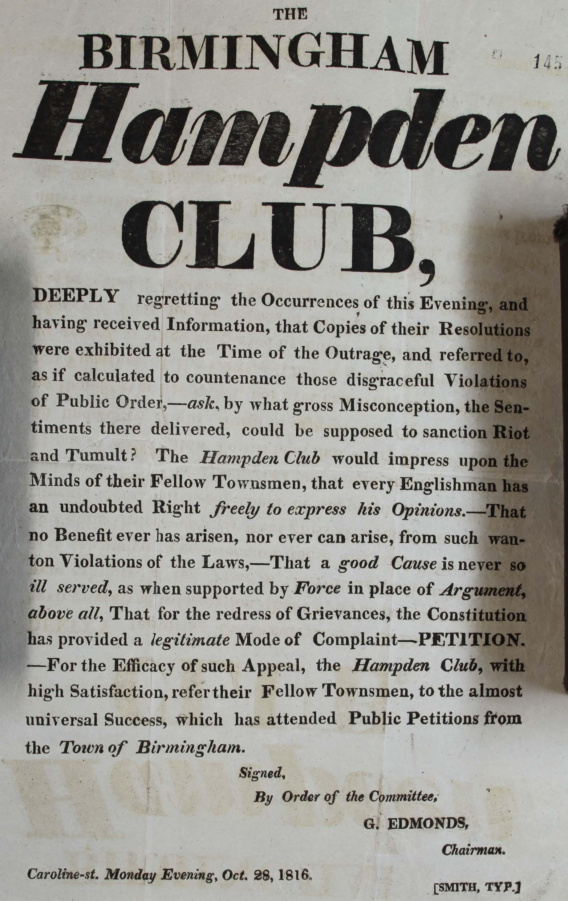 HO 40/9/145, Birmingham Hampden club