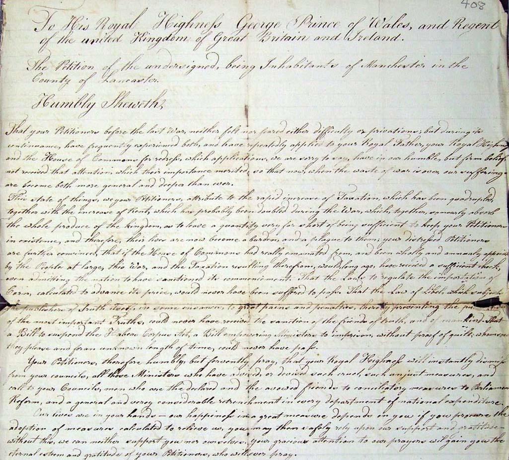 HO 42/162 Blanketeers' Petition