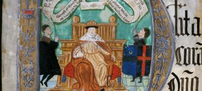 Image of Coram Rege Rolls initial detail Edward VI