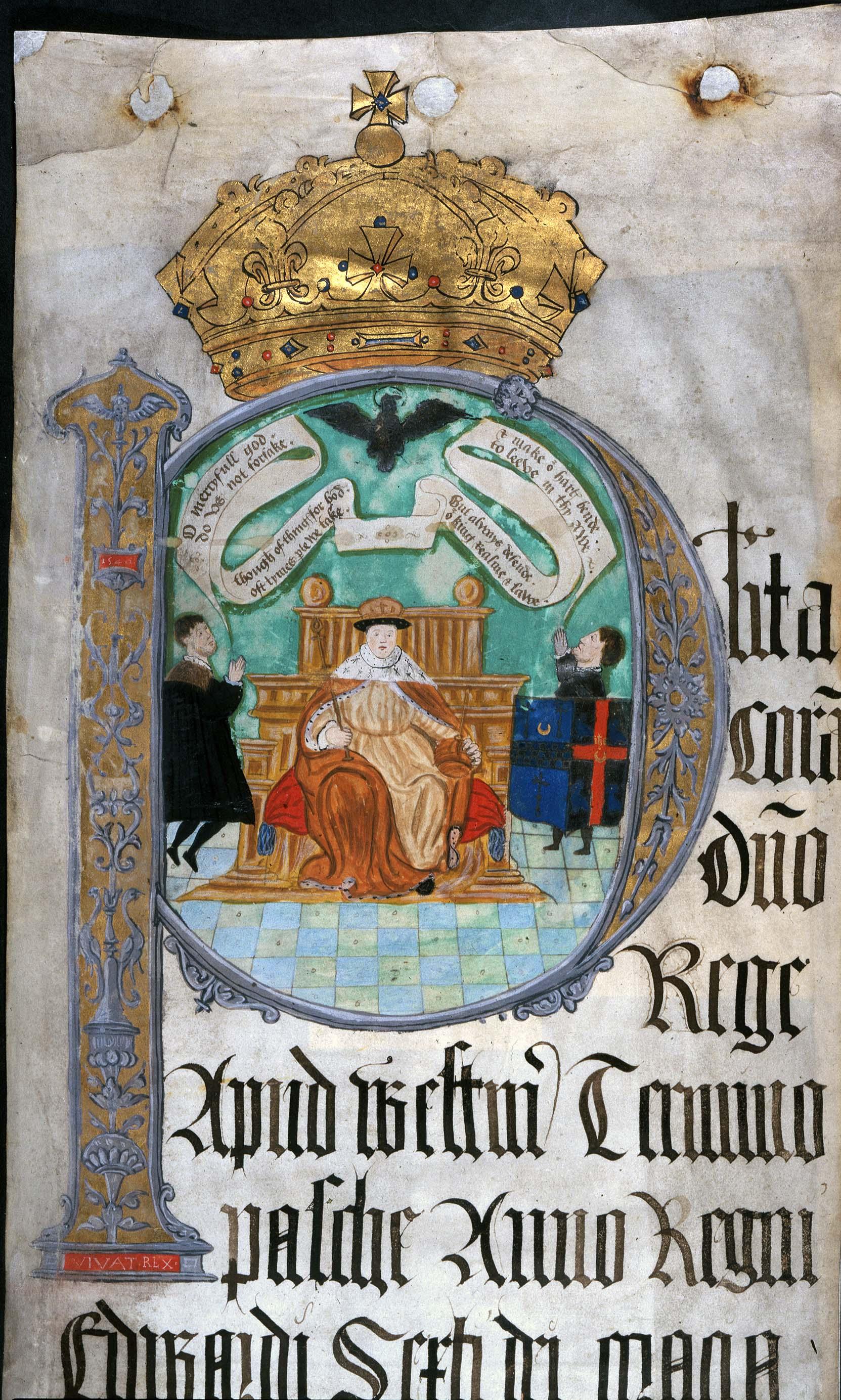 KB27-1150-2 Coram Rege Rolls initial detail Edward VI, Easter 1549