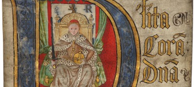 Image of Coram Rege Rolls initial detail Elizabeth I