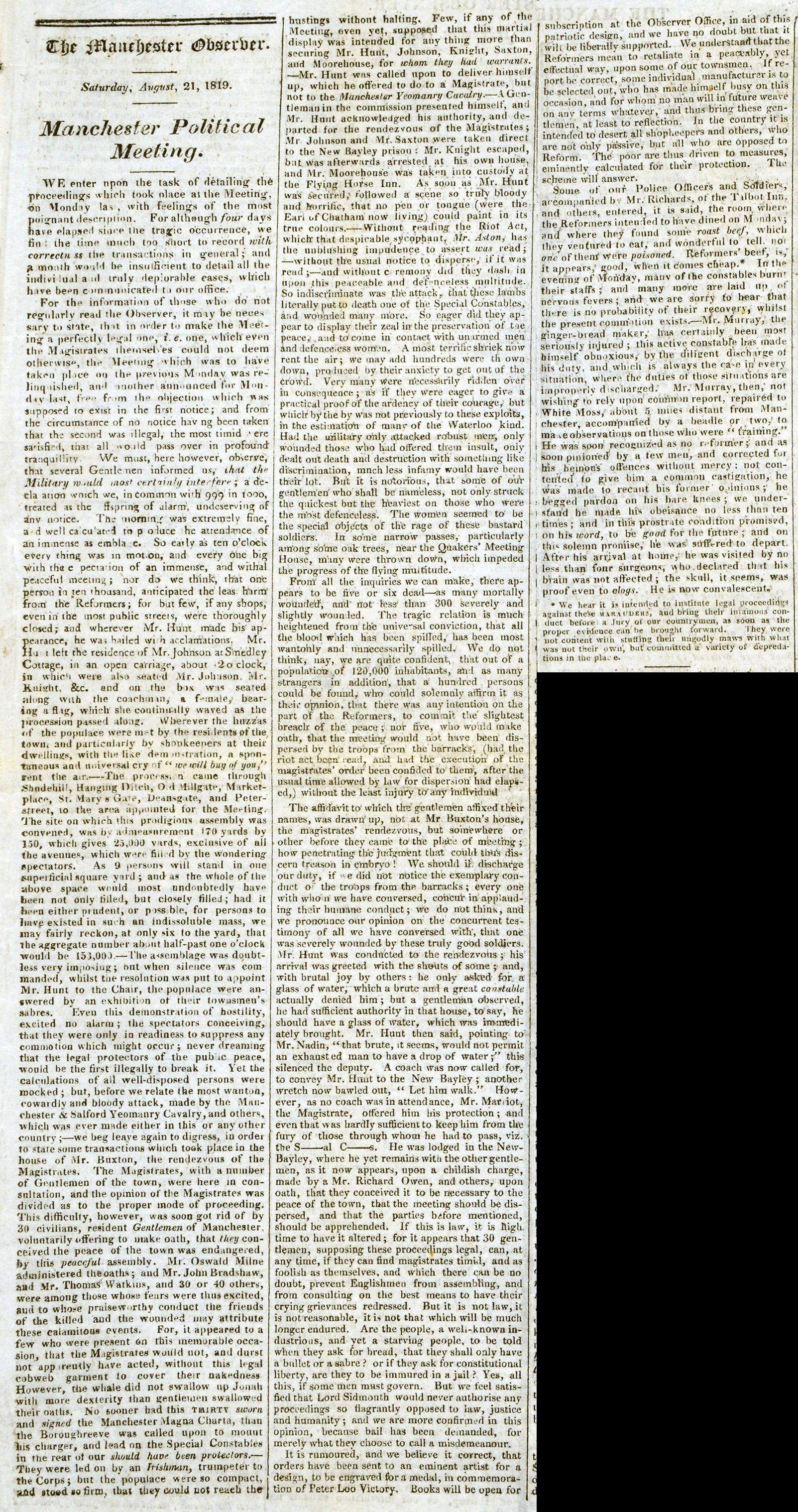 Manchester Observer (HO42-192 f5 pg 687)