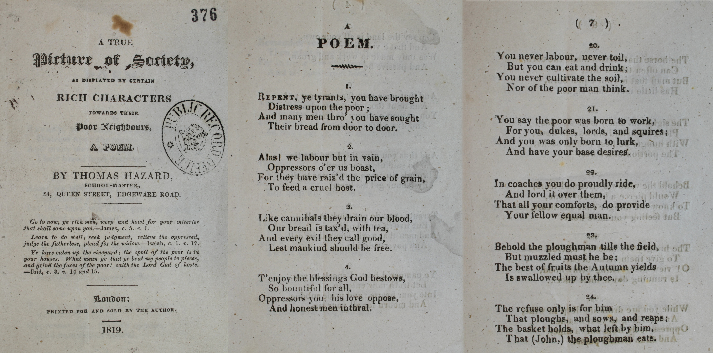 Thomas Hazard poem The National Archives