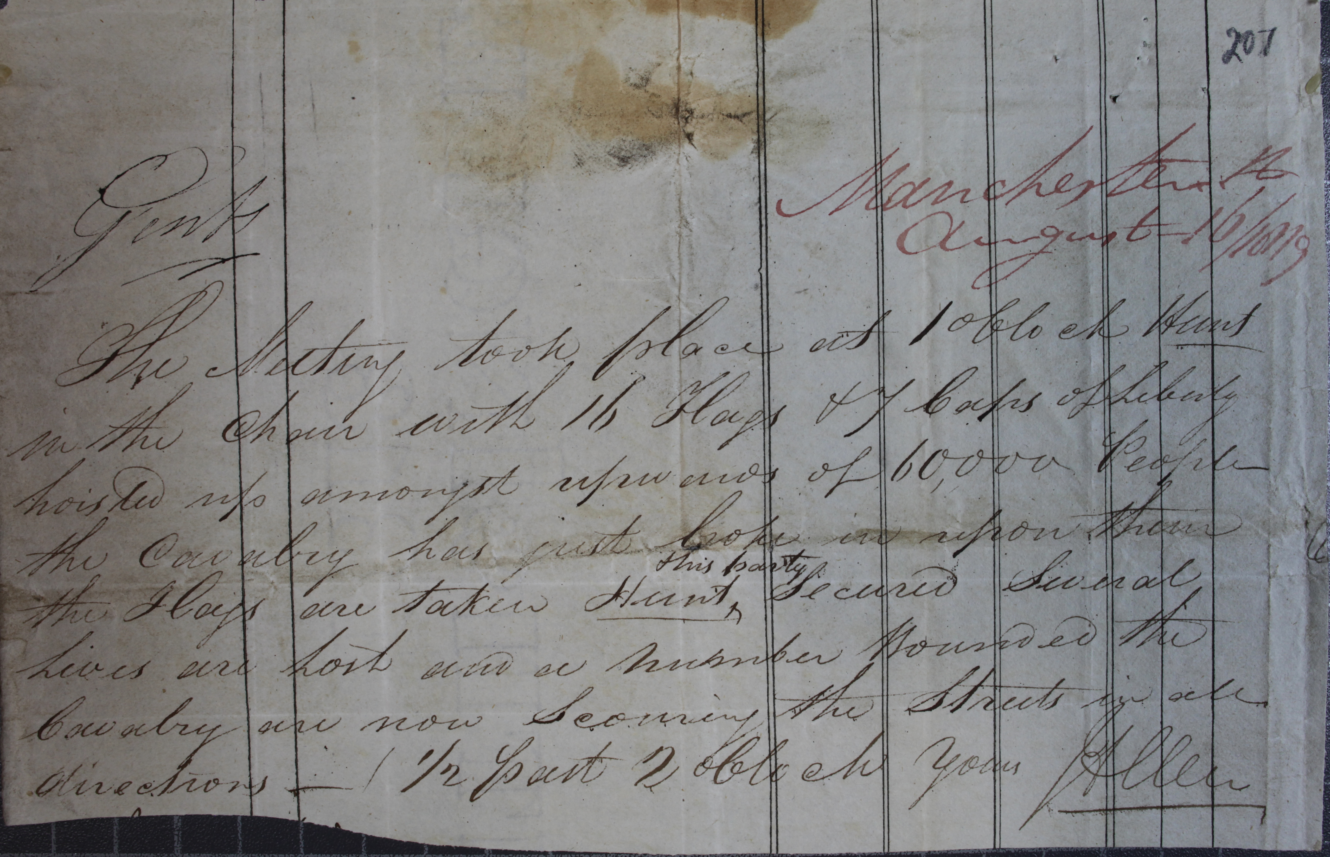 First Account of Peterloo (ho-42-192-f207)