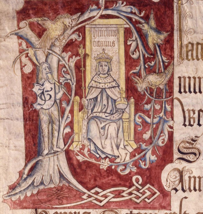 Coram Rege Rolls initial detail Henry VIII, KB-27_1024_22-04-1517_21-04-1518