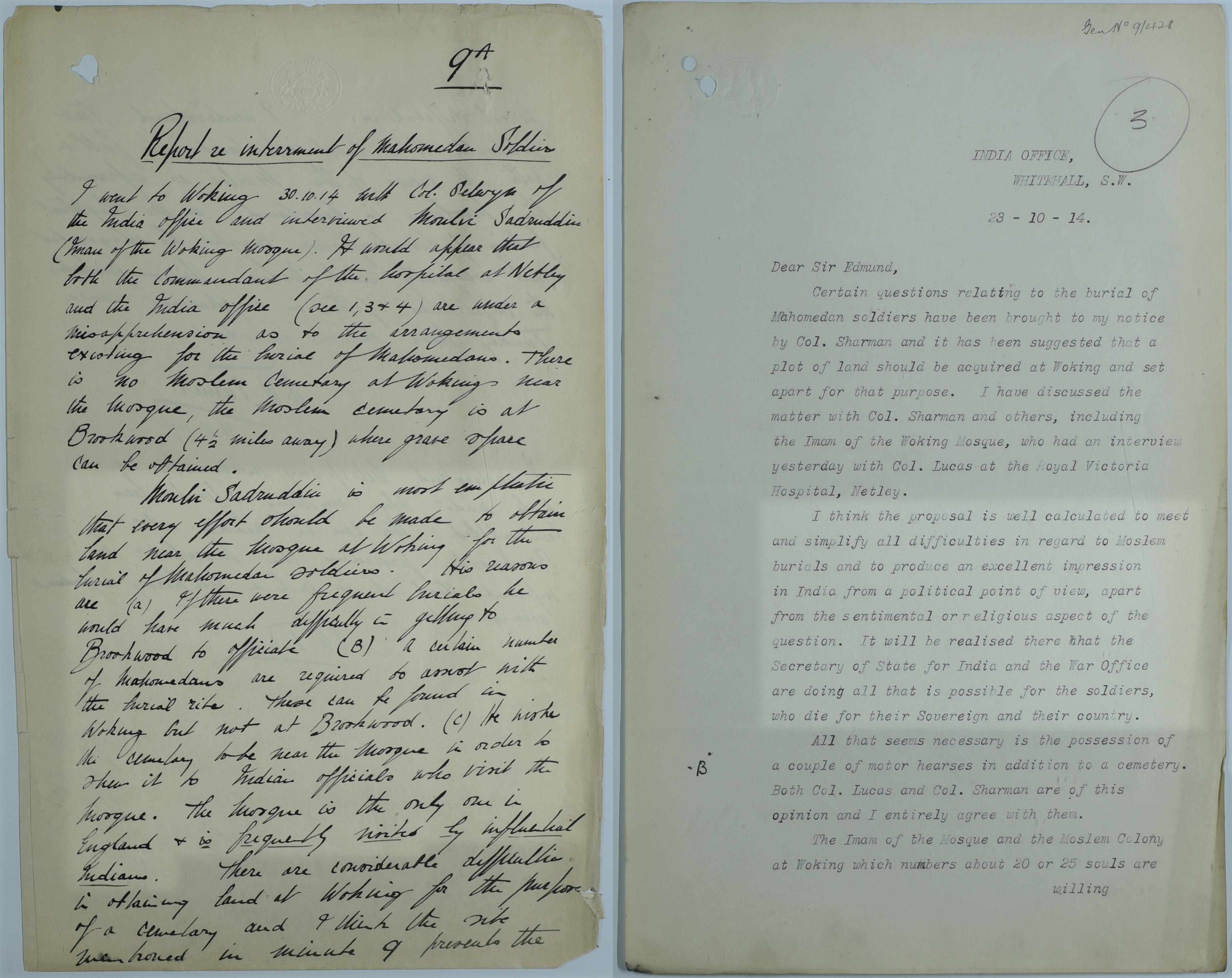 Arrangements for Muslim burial WO_32_18578