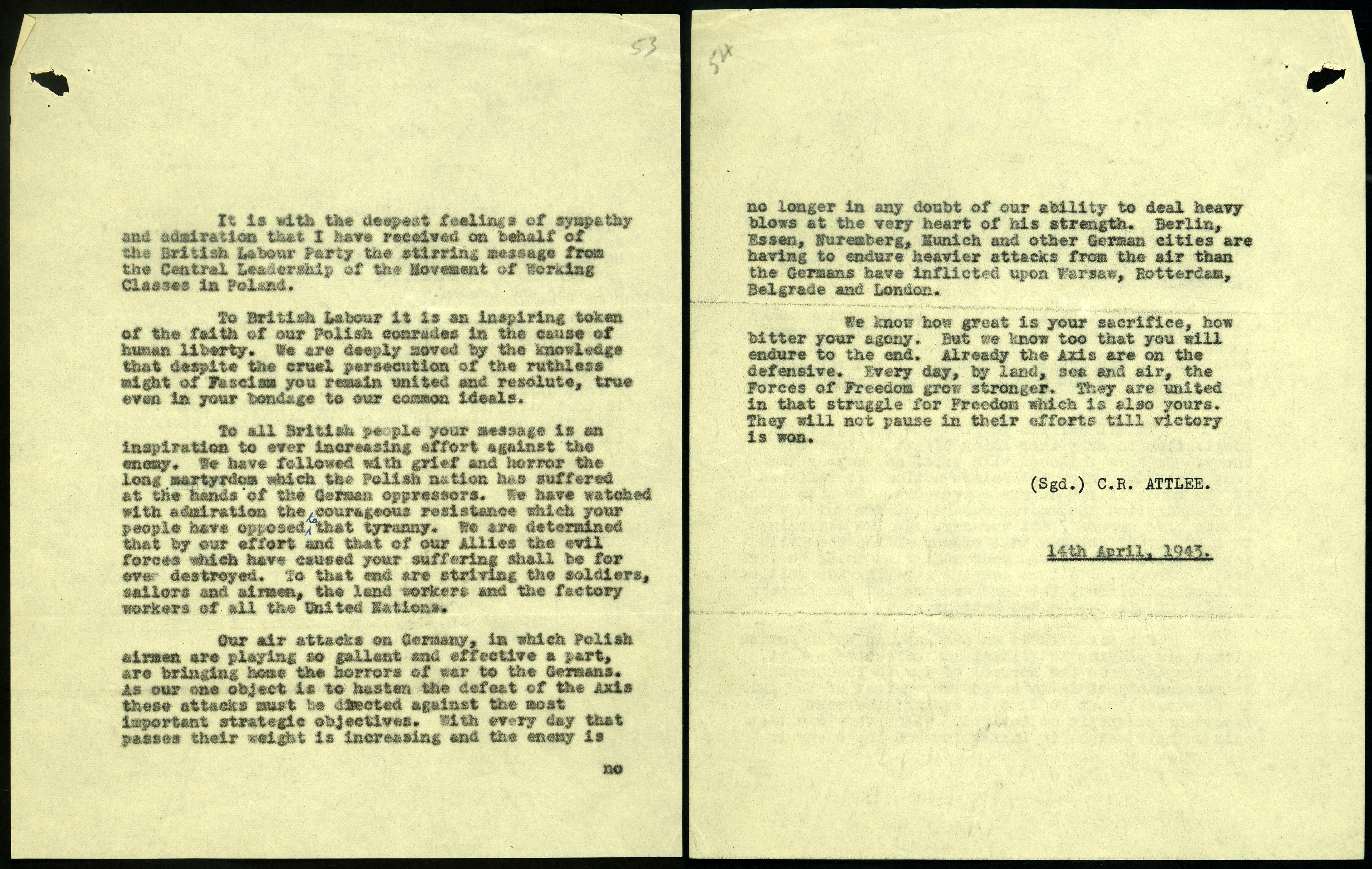 Response from Attlee regarding British response