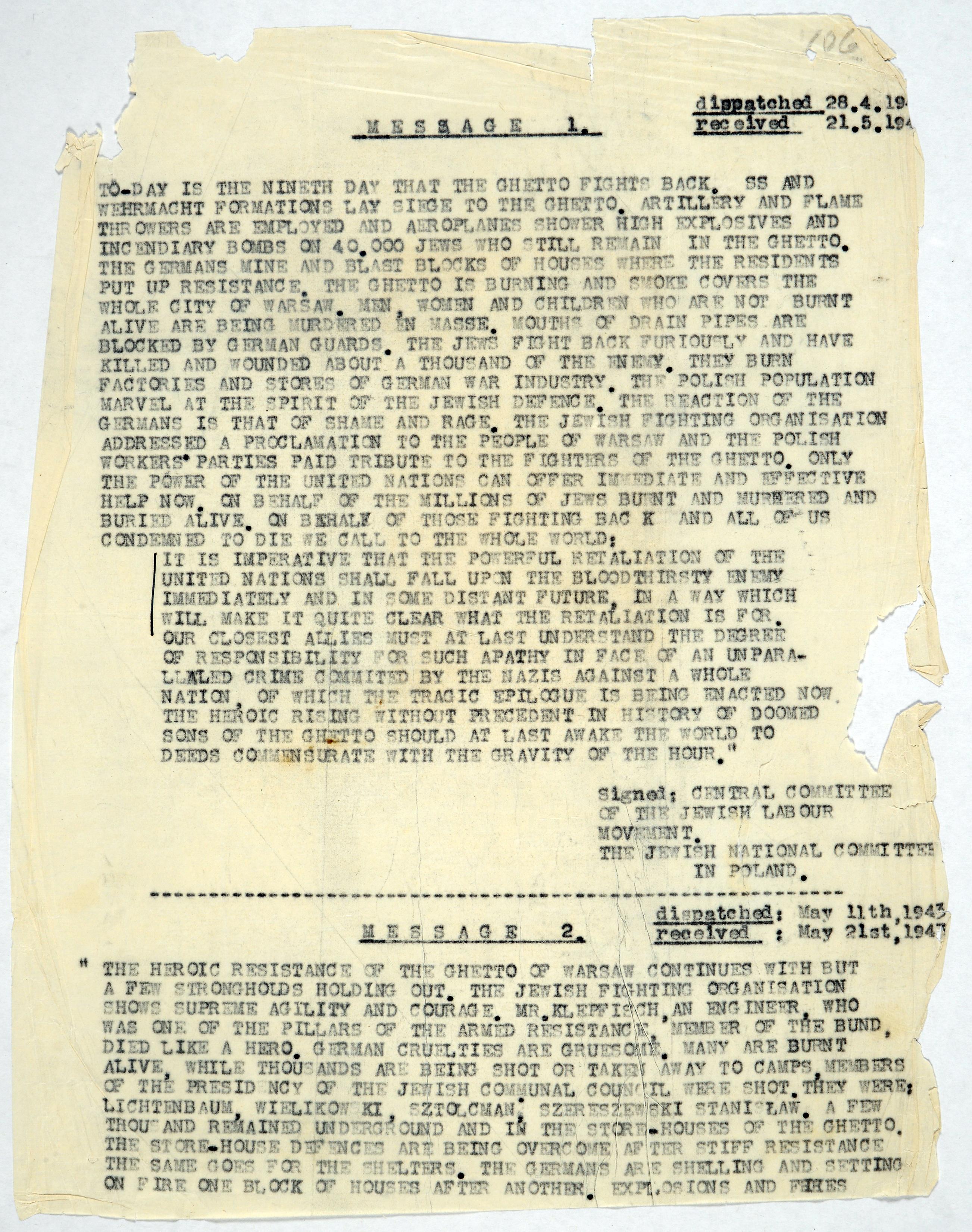 Description of the uprising in the Warsaw Ghetto