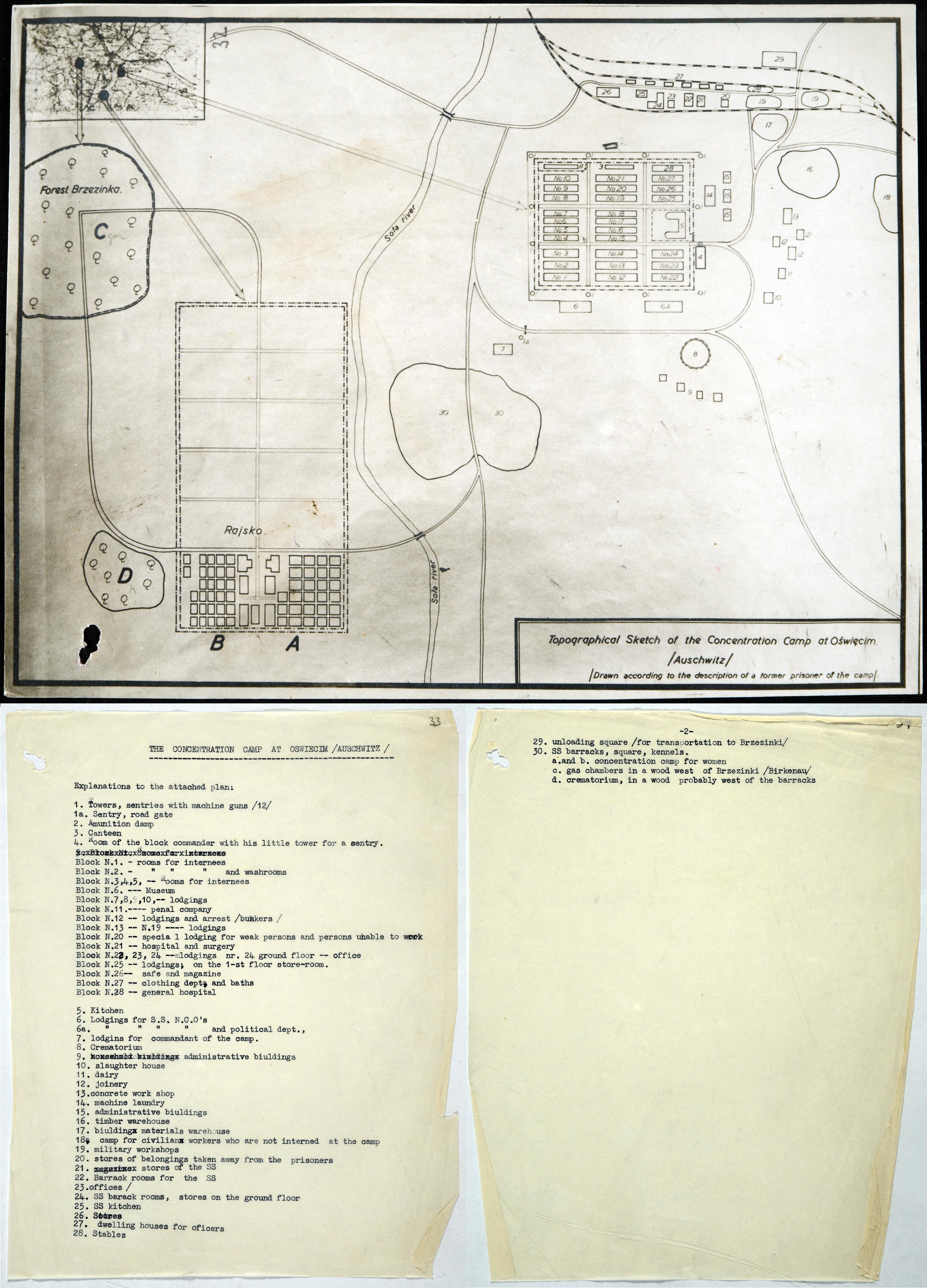 Plan of the concentration camp Auschwitz Birkenau